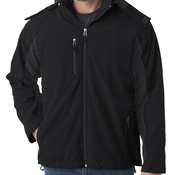 UltraClub Adult Color Block 3-in-1 Systems Hooded Soft Shell Jacket