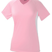 Ladies' Color Block Performance Cooling V-Neck Tee