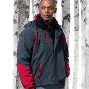 UltraClub Adult Color Block 3-in-1 Systems Hooded Jacket
