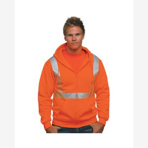 80/20 Heavyweight Hi-Visibility Solid Striping Full-Zip Hooded Sweatshirt Thumbnail