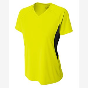 Ladies' Color Block Performance V-Neck T-Shirt Thumbnail