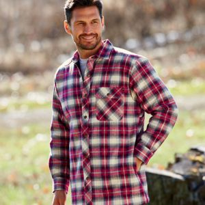 Men's Flannel Shirt Jacket with Quilt Lining Thumbnail