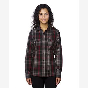 Ladies' Long-Sleeve Plaid Pattern Woven Shirt Thumbnail