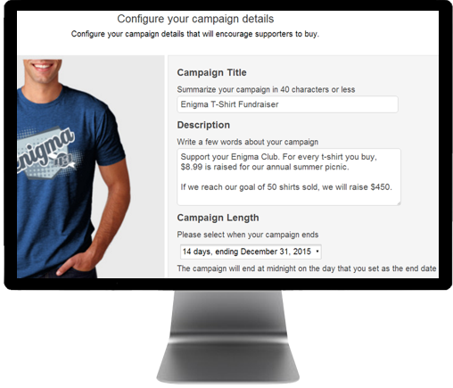 Confifure Web Page for Selling Wholesale T-shirt Campaigns