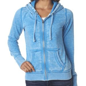 J.America Ladies' Zen Full-Zip Hooded Fleece Thumbnail